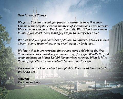 Dear Mormon Church